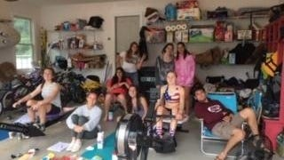 Friends helped support Hingham High rowers Ella Niehoff and Devon Moriarty during their marathon ERG row last month.