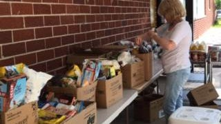 Volunteers at the Fillin' Station help people in 200 households each month.