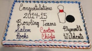 All three high schools at the Park share honors on this congratulatory cake, evidence of how well the bowling teams work together as one.