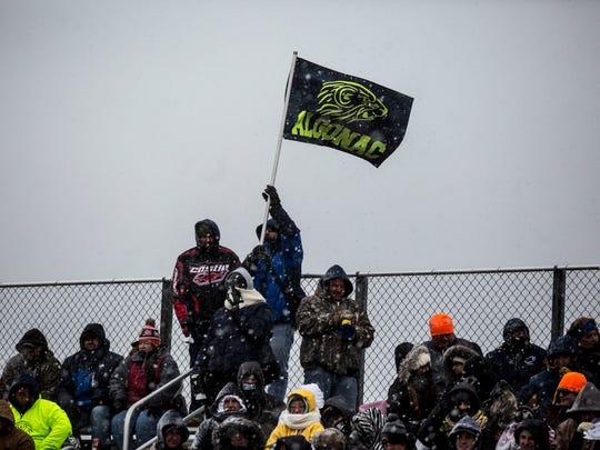 Algonac fans cheer during a Division 5 semifinal football game Saturday, Nov. 19, 2016 at Harper Creek High School in Battle Creek.
