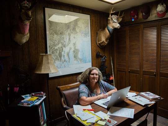 Carol Potenza sits in her home, where she wrote the mystery novel that won her the 2017 Tony Hillerman Prize. Friday July 14, 2017