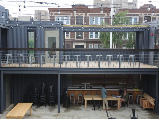 The still-under-construction outdoor bar and stage of Detroit Shipping Co., which expects to debut in the Cass Corridor in mid-July. It is one of a handful of new food halls in various stages of development around Detroit.