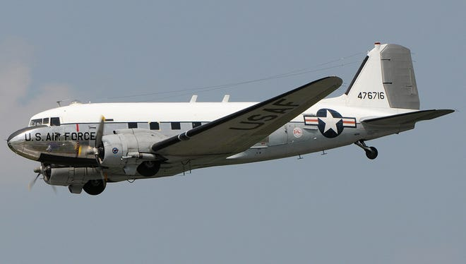 """The """"Yankee Doodle Dandy,"""" a World War II-era C-47, will be open for tours Saturday in Port Clinton."""