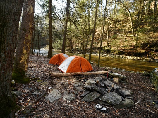 Hikers camp out just off the path of the Mason-Dixon Trail on Otter Creek.