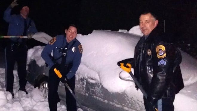Barnegat officers cleared out the driveway of an elderly disabled resident after she reported being snowed in.