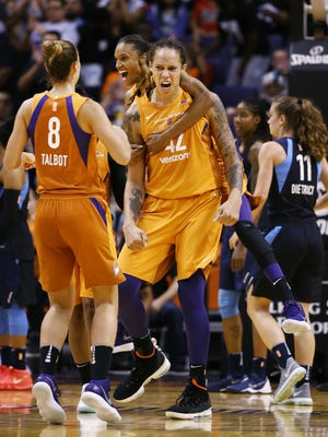 The Phoenix Mercury's DeWanna Bonner and Brittney Griner celebrate a basket against the Atlanta Dream in the second half on Aug. 17, 2018, at Taking Stick Resort Arena in Phoenix, Ariz.