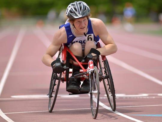 Buffalo senior Jayson Gorton competes in the 200-meter