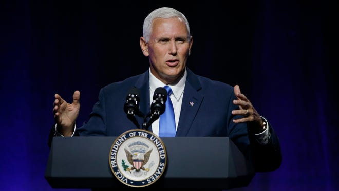 Vice President Mike Pence addresses the National Governors Association July 14. In the speech, Pence used Ohio Gov. John Kasich's expansion of Medicaid to criticize the program. (AP Photo/Stephan Savoia)