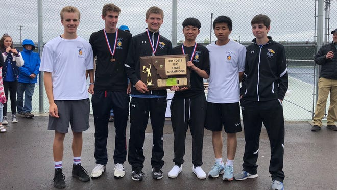 Members of the Class B-C State Boys' Tennis Champions from Great  Falls Central Catholic High School include (left to right): Nick Diekhans, Wyatt Walters, Nick Scott, Benson Chu, Roger Mai, and Eli Vincent. Not pictured are coaches Jason Purpura and Brian Scott.