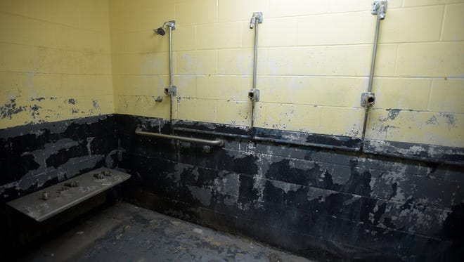 The men's showers at the Wayne County Fairgrounds shown Thursday, Dec. 1, 2016, are in need of renovations.