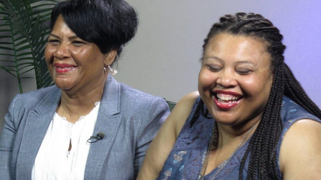 "Alice Marie Johnson, left, and her daughter Katina Marie Scales wait to start aJune 2018 TV interview. Johnson, 63, whose life sentence was commuted by President Donald Trump, thanked the president for ""having mercy"" and said reality TV star Kim Kardashian West saved her life."