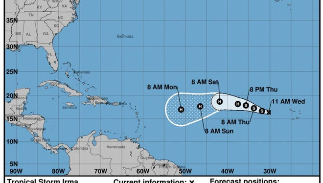 Tropical Storm Irma formed in the Atlantic on Wednesday, Aug. 31, 2017.