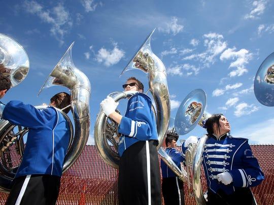The Sebastian River High School Marching Band walks