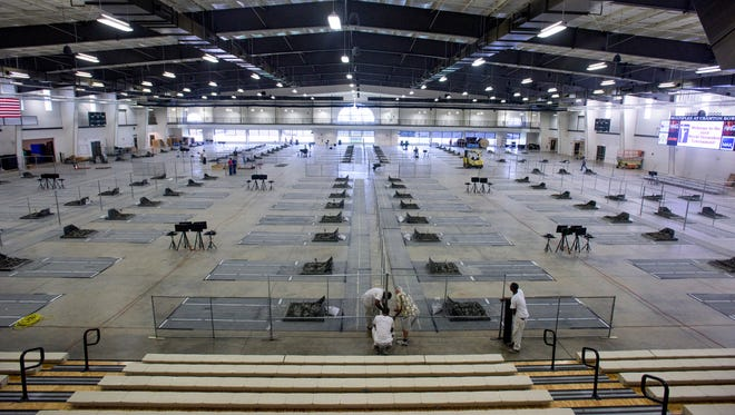 The Cramton Bowl Multiplex in Montgomery, Ala., is being prepared for the NHPA World Horseshoe Tournament on Thursday July 21, 2016. The event takes place from July 25 to August 6.