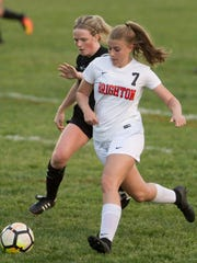 Brighton's Isabel Stropich drives the ball Thursday,