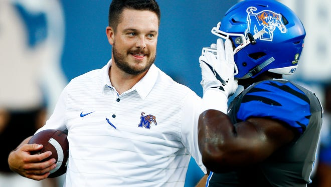 University of Memphis Assistant Coach Dan Lanning during warm up before taking on Southern Illinois University  at the Liberty Bowl Memorial Stadium Saturday, September 23, 2017.
