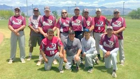 The NM Boomers 60's pose after winning a Cinco de Mayo tourney in Arizona this past weekend.
