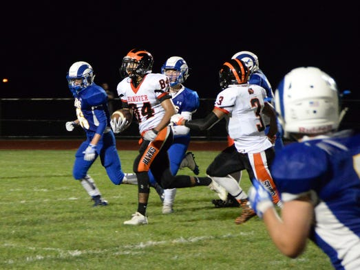 Hanover wide receiver Fabian Lara heads for the end
