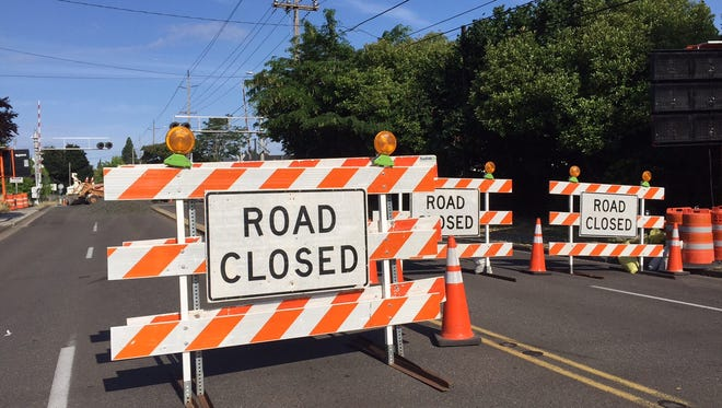 Railroad crossing work has closed a section of Market Street this week.