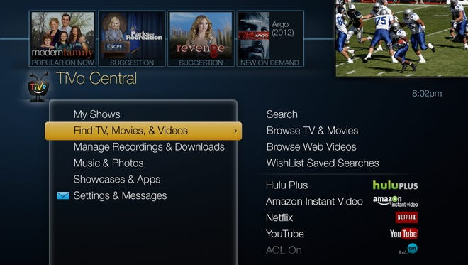 The TiVo Central interface