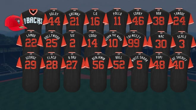 Take a look back at the special Diamondbacks uniforms (with nicknames) for last season (Aug. 25-27, 2017).
