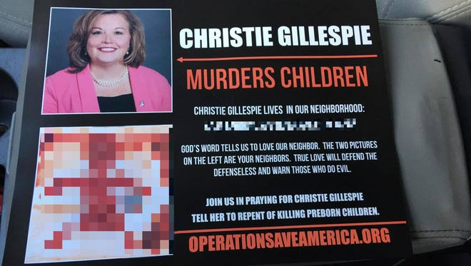 A flier handed out in the Meridian Kessler neighborhood, which included an incorrect address for Planned Parent of Indiana and Kentucky CEO Christie Gillespie and a graphic image of a fetus. Both have been blurred.