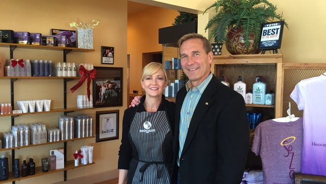 Karen and Mark Welch, co-owners of SoZo Hair by Bajon Salon and spa, which opened earlier this year and is the latest addition to the revitalized Olde West Chester business district.