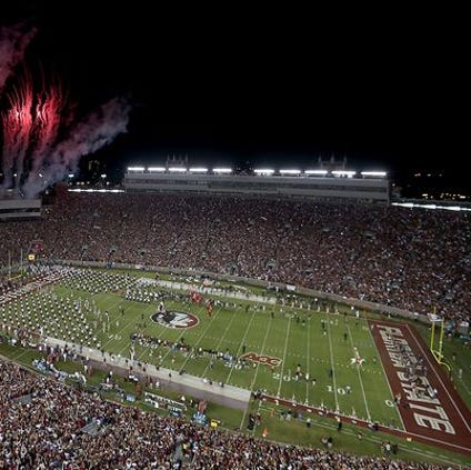 Fireworks explode over Doak Campbell Stadium before Florida State hosts ACC, and in state rival, the Miami Hurricanes in a match up of top 10 teams during the 2013 season.