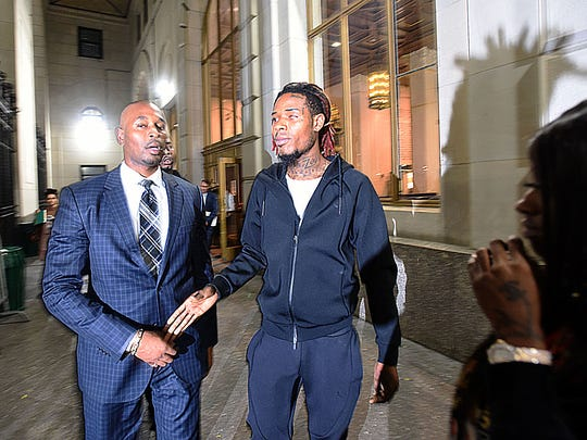 Paterson native Fetty Wap leaves the courthouse after was arrested in New York early Friday on charges of driving drunk and with a suspended New Jersey license after what authorities are describing as a drag race through Brooklyn.