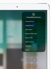 An accessibility shortcuts menu on Apple's iPad Pro