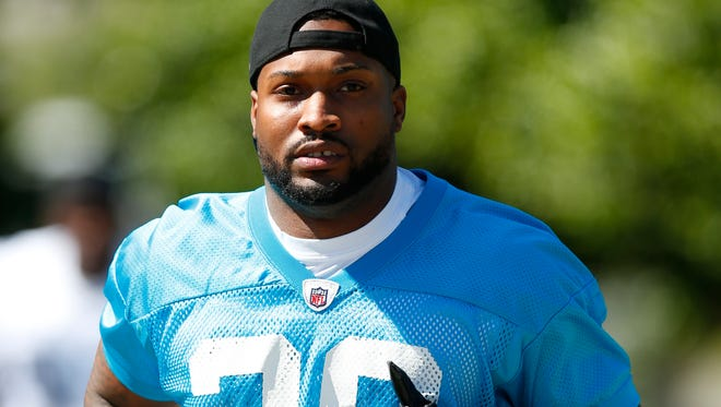 Dorin Dickerson during rookie minicamp with the Panthers in May.