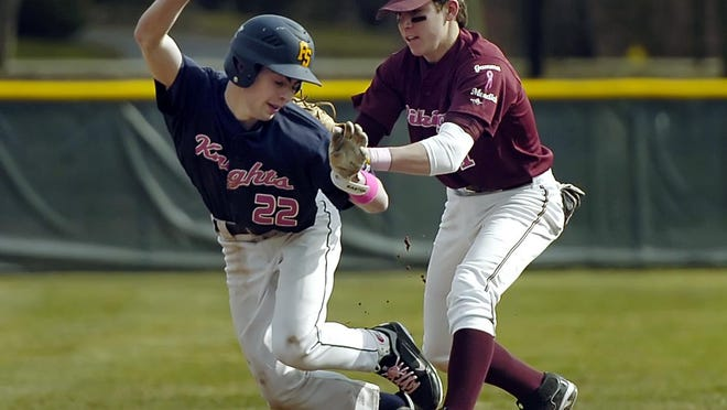 Danny Mendick, an All-Greater Rochester selection in 2011 at Pittsford Mendon's shortstop, was selected by the Chicago White Sox in the 22nd round of the MLB draft. He's shown here tagging out Sutherland's Hunter Merrill in a game in April 2011.