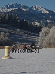 A family ride on ice covered Pearrygin Lake, Gardner