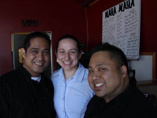 Maya Maya Pacific Grill was opened in March by (from left) husband and wife team Denver and Christina Mayangitan and Chris Natac