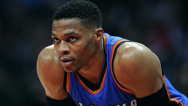 Russell Westbrook, seen here in a file photo, didn't make the All-Star starters list.