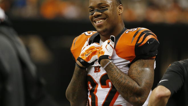 Cincinnati Bengals running back Jeremy Hill (32) had a lot to  smile about with 152 yards on 27 carries against the New Orleans Saints at the Superdome in New Orleans.