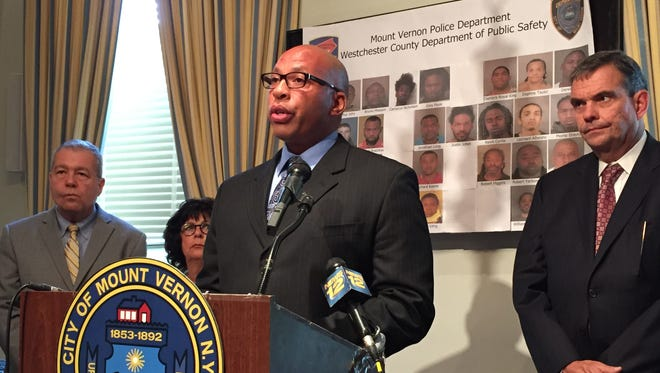 Mount Vernon police commissioner Terrance Raynor speaks at City Hall about the 32 city residents arrested in Thursday's drug bust.