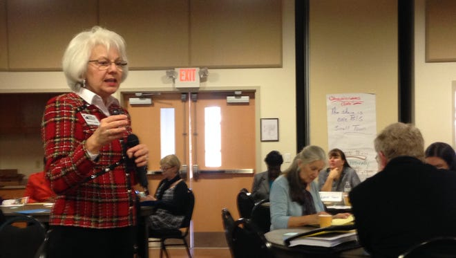 Martha A. Walker of Virginia Cooperative Extension facilitates a session of Stronger Economies Together on Tuesday, Dec. 15, 2015 at Eastern Shore Community College in Melfa, Virginia.