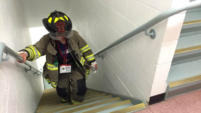 The sixth annual Binghamton Fire 9/11 Memorial Stair Climb was held in honor of firefighters who had fallen while serving on 9/11.