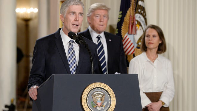 Supreme Court nominee Judge Neil M. Gorsuch speaks in the East Room of the of White House on Tuesday