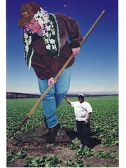 Farmworker art by Salinas artist John Cerney. The man in the photo is Salinas resident Elmer Dolera.