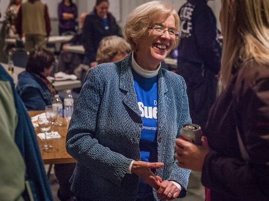 The target of negative ads four years ago, state Rep. Sue Errington, D-Muncie, celebrates election results at Murpah Shrine Club Tuesday night.