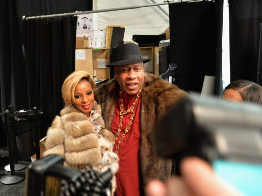 Mary J. Blige and Andre Leon Talley during Mercedes-Benz
