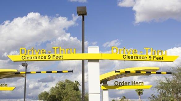 Drive-thru lanes at restaurant