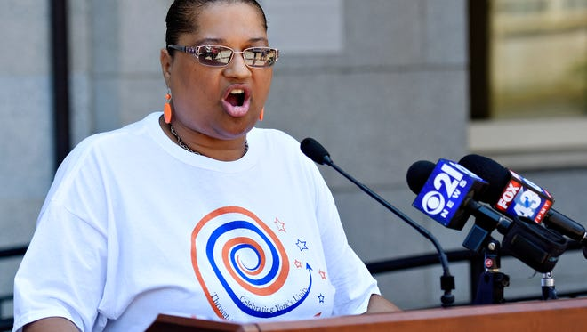 Pastor Ramona Kinard, who is vice president of York Black Ministers Association, speaks as organizers hold a press conference to introduce 10,000 Acts of Kindness, a year-long collaborative effort to spread kindness and goodwill, outside of the York County Administrative Center in York City, Friday, June 29, 2018. Dawn J. Sagert photo