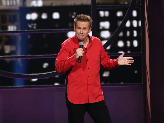 "Comedian Brian Regan performs during ""Brian Regan: Live From Radio City Music Hall"" in 2015."