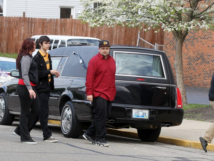 Mourners arrive for  Samantha Ramsey's funeral at First Baptist Church, Ludlow.