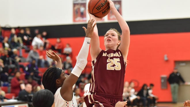 Riverdale's Alexis Whittington fires a jumper during Friday's game at Stewarts Creek.