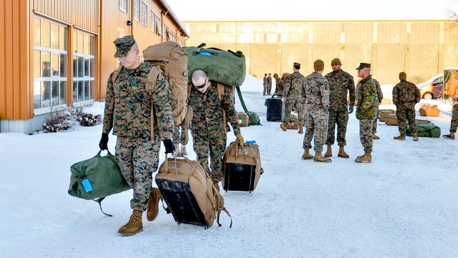 Some of the around 300 U.S. Marines  arrived in Stordal, Norway on Jan. 16, 2017 for a six-month trial period, irking Norway's Russian neighbors. Norway blames Russian hackers for recently attacking Norway's defense and foreign ministry computers.