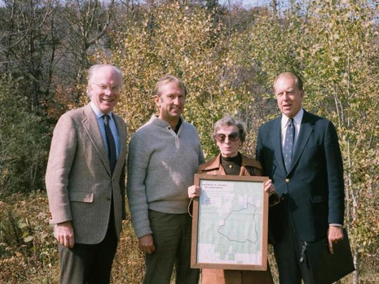 Lola Aiken with Sen. Patrick Leahy, from left, then-Rep. Jim Jeffords and Sen. Robert Stafford at the dedication ceremony for the Aiken wilderness area in 1984.
